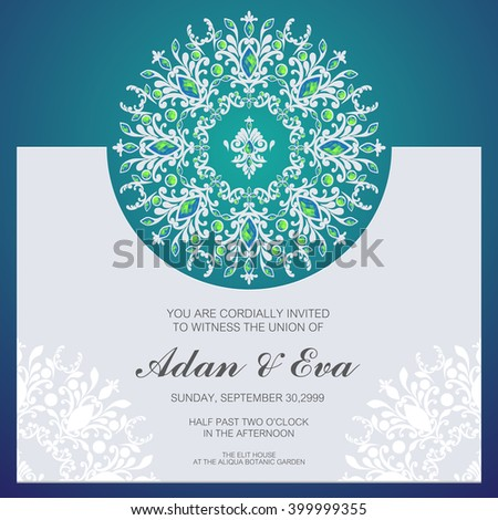 wedding invitation or card with