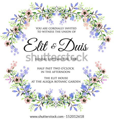 Wedding invitation or card with abstract floral background. #152012618