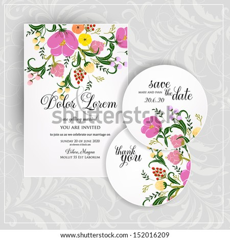 Wedding invitation or card with abstract floral background.