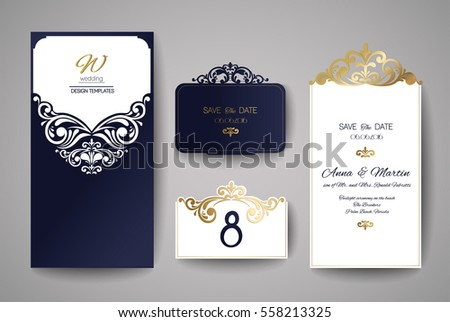 Stamp wedding invitation download free vector art stock graphics wedding invitation or greeting card with gold floral ornament wedding invitation envelope for laser cutting stopboris Gallery