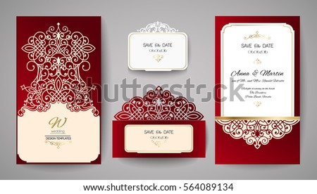 Laser cut invitation vector download free vector art stock wedding invitation or greeting card with gold floral ornament wedding invitation envelope for laser cutting stopboris Images