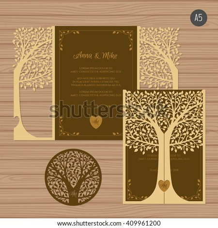 Wedding invitation or greeting card with tree. Paper lace envelope template. Wedding invitation envelope mock-up for laser cutting. Vector illustration.