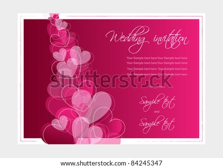 Wedding invitation or Valentine card, vector