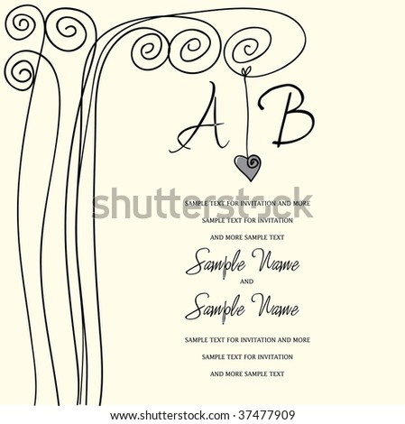 stock vector Wedding Invitation Panel heart tree