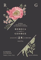 Wedding invitation. Poppy croton isolated floral. Beautiful blooming realistic flowers. Vintage greeting card. Frame. Drawing engraving. Wallpaper background baroque. Vector victorian Illustration.