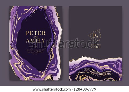 Wedding invitation, RSVP, thank you cards. Vector elegant rustic template. Swirls of marble or the ripples of agate. Liquid marble texture and Golden metallic. Fluid art.