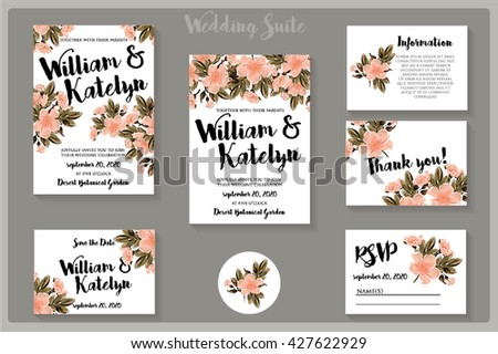 Wedding invitation s suite with rose-dog flowers , thank you card, save the date cards. Wedding set. RSVP card #427622929