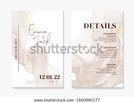 Wedding Invitation sage green boho rustic style modern save the date template. Watercolor liquid flow, abstract painting vector. Elegant  mint background  invite thank you, modern  rsvp card Design