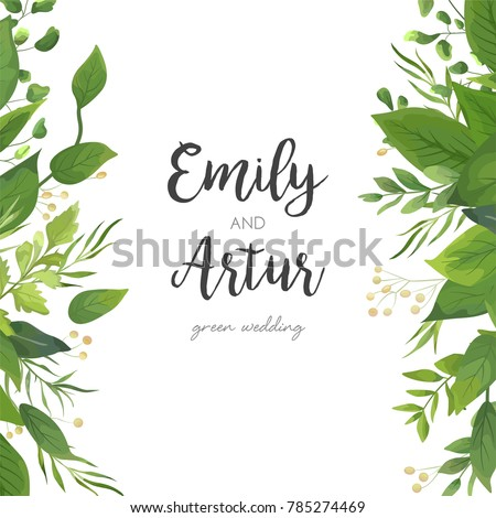 Wedding Invitation, save the date card floral Design with green watercolor fern leaves, tropical forest greenery decorative frame print. Vector elegant cute watercolor rustic greeting, invite postcard #785274469
