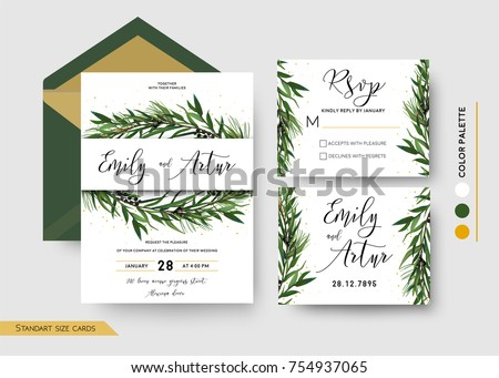 Wedding Invitation save the date, rsvp invite card Design: Pine spruce tree greenery branches Eucalyptus Green leaf & berry wreath, border, print & golden glitter. Vector floral celebration templates