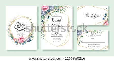 Wedding Invitation, save the date, thank you, RSVP card Design template. Queen of Sweden rose flower, leaves, succulent plant, Anemone plants. vector. #1255960216