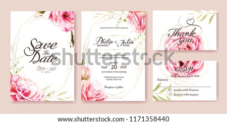 Wedding Invitation, save the date, thank you, rsvp card Design template. Vector. Pink rose, olive leaves. Watercolor style. #1171358440