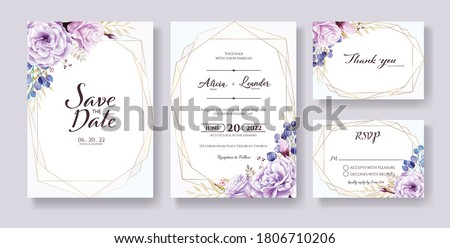 Wedding Invitation, save the date, thank you, rsvp card Design template. Vector. purple rose flowers, Silver dollar leaves.