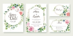 Wedding Invitation, save the date, thank you, rsvp card Design template. Vector. Roses flower with greenery.