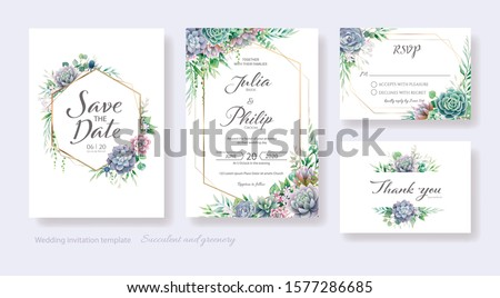 Wedding Invitation, save the date, thank you, rsvp card Design template. Vector. Succulents and greenery.