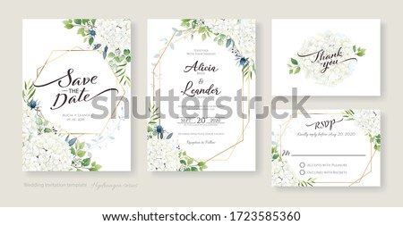 Wedding Invitation, save the date, thank you, RSVP card Design template. Vector. White Hydrangea flowers with greenery. Watercolour style.