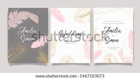 Wedding Invitation set,  invite thank you, rsvp modern card Design in Golden and pink Feather  decorative Vector elegant rustic template