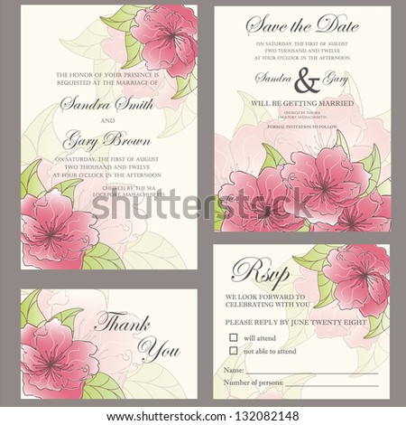 Wedding invitation set (wedding invitation, thank you card, save the date card, RSVP card)