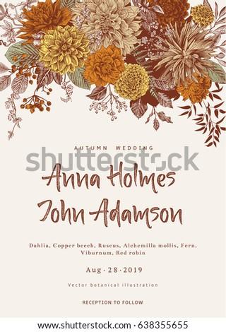 Wedding invitation. Summer and autumn flowers. Dahlias, Ruscus, Viburnum. Modern floristics. Vector vintage illustration.