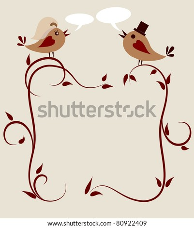 stock vector wedding invitation template of two birds