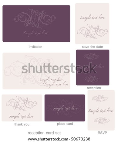 stock vector Wedding invitation template set wedding invitation templates