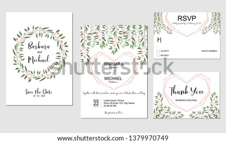 Wedding invitation template set with pink small flower and golden heart symbol, white background. #1379970749