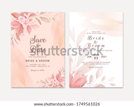 Wedding invitation template set with romantic floral border and gold watercolor. Roses and sakura flowers composition vector for save the date, greeting, thank you, rsvp card vector