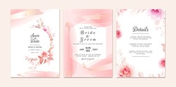 Wedding invitation template set with romantic floral frame and gold brush stroke. Roses and sakura flowers composition vector for save the date, greeting, thank you, rsvp card vector