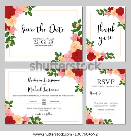 Wedding invitation template set with rose flower bouquet decoration. Realist style of bridal cards. #1389604592