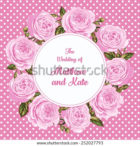 Wedding Invitation Template with English Roses Wreath #252027793