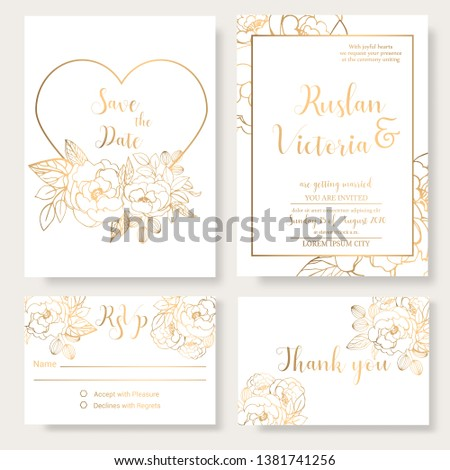 Wedding invitation template with golden decorative elements and jewerly. Vector illustration