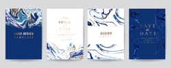 Wedding Invitation, Thank you Card, rsvp, posters, modern card Design Collection. Trendy indigo Marble background, Marbling texture design in navy blue ,green turquoise and golden texture vector