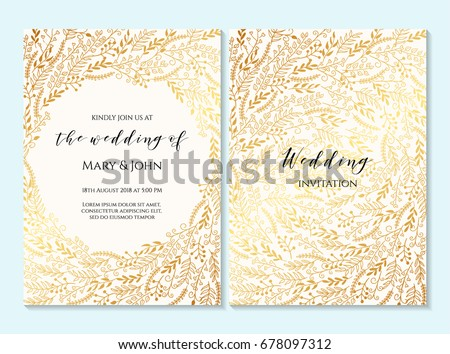 Wedding invitation, thank you card, save the date card. Wedding invitation, baby shower, menu, flyer, banner template with calligraphy, confetti, background. Elegant luxury mandala wedding invitation.