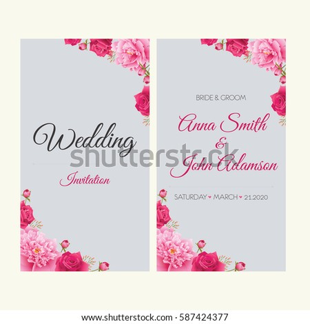 Wedding invitation, thank you card, save the date cards.Wedding collection,wedding design,invitation card,romantic floral, peonies and roses. EPS 10 #587424377