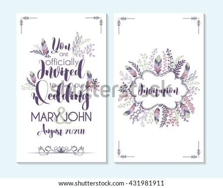 wedding invitation card design with decorative elements Download