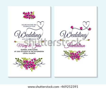 Wedding invitation, thank you card, save the date cards. Wedding invitation template design with beautiful pink flowers, wedding card, wedding invitation, wedding bridal shower, wedding card, wedding