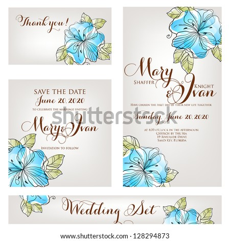 Wedding invitation thank you card save the date cards Wedding set