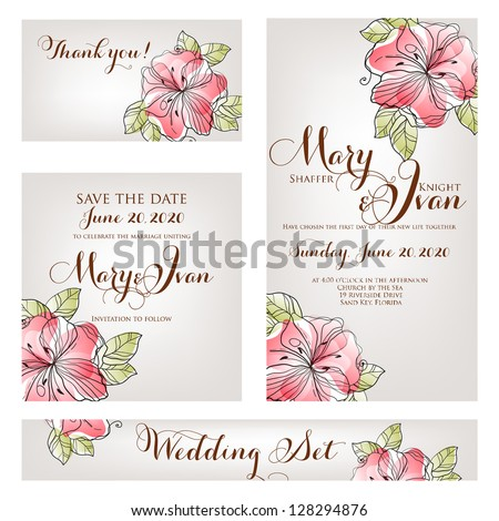 Wedding invitation, thank you card, save the date cards. Wedding set. , ,
