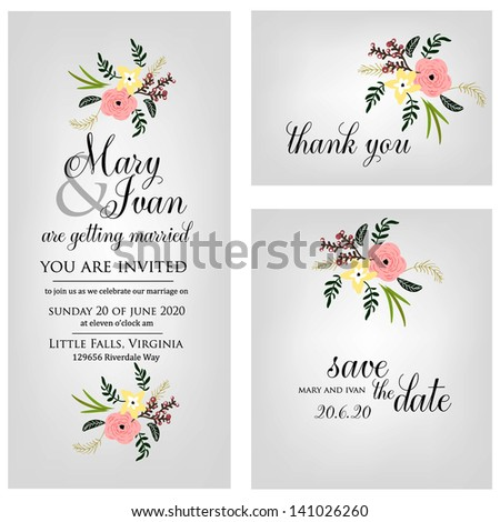 Wedding invitation, thank you card, save the date cards. Wedding set. RSVP card #141026260