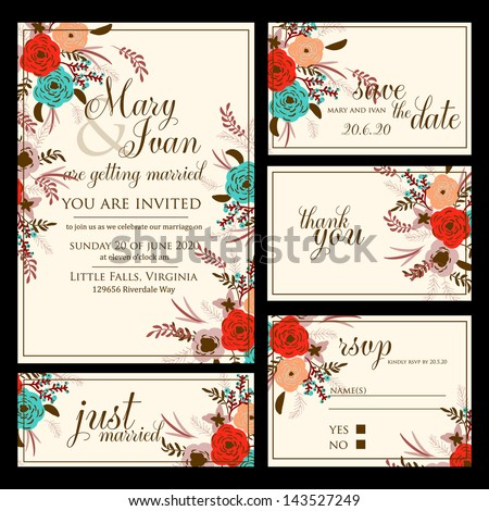 Wedding invitation thank you card save the date cards Wedding set RSVP card