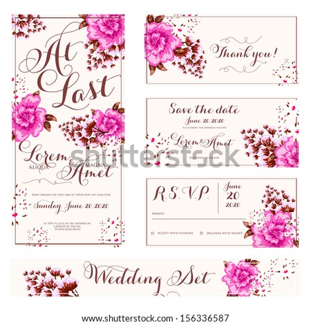 Wedding invitation, thank you card, save the date cards. Wedding set. RSVP card #156336587