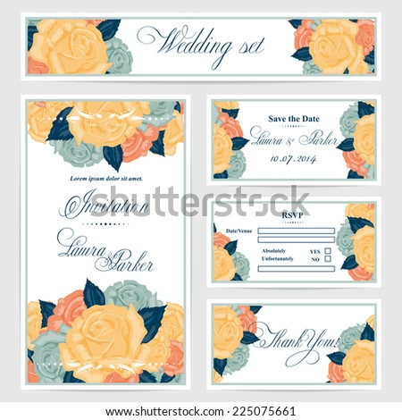 Wedding invitation, thank you card, save the date cards. Wedding set. RSVP card.Vector flower,roses