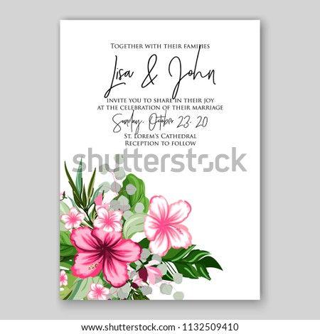 062b7b76e94 ... bridal shower card vector template peony anemone. Wedding invitation  tropical flower hibiscus palm leaves wording template Marriage ceremony  ornament ...
