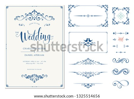 Wedding invitation. Vector set of ornate calligraphic vintage elements, dividers and page decorations.