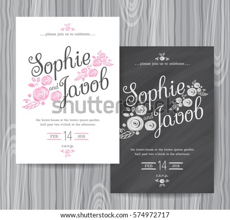 Save The Date Chalkboard Style Card - Download Free Vector Art