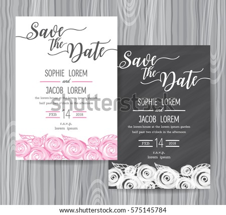 Vintage chalkboard save the date wedding invitation template ea wedding invitation vintage card freehand flower on the chalkboard invitation set design template stopboris Images