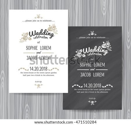 Vintage Chalkboard Wedding Invitations design sets - Download Free ...