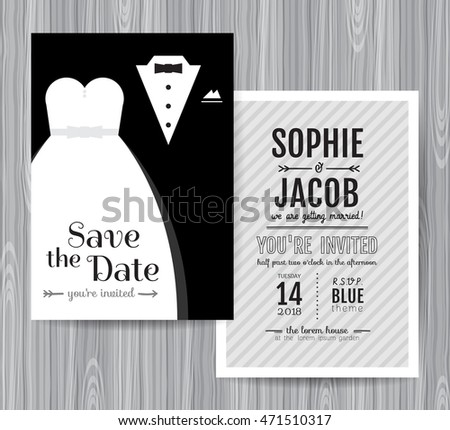 Vintage chalkboard save the date wedding invitation template. Ea ...