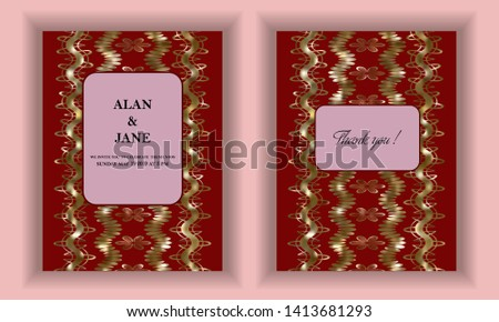 Wedding invitation, wedding invitation template, invitation for a holiday or anniversary. Golden pattern on a red background. Vector illustration.