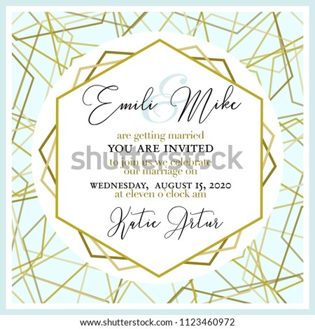 Wedding Invitation, with abstract and gold pattern #1123460972